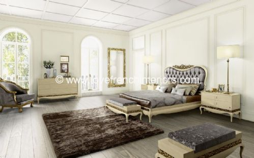 Luxus Bedroom Collection in Cream and Gold Leaf